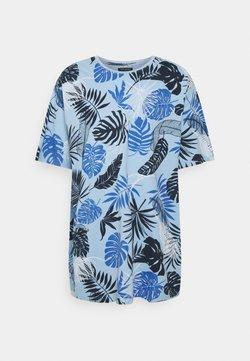 Shine Original - PALM O NECK TEE - T-shirt imprimé - blue
