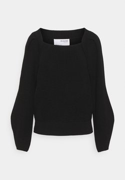 Selected Femme - SLFGRY LS SQUARE NECK B - Strickpullover - black