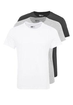 Pier One - 3 PACK - T-shirt basic - white/black/grey