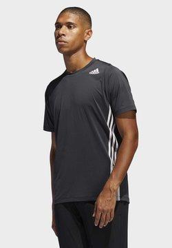 adidas Performance - FREELIFT 3-STRIPES T-SHIRT - Printtipaita - black