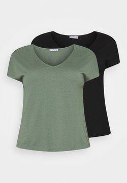 Anna Field Curvy - 2 PACK - T-Shirt basic - black/green