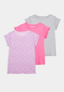 Friboo - 3 PACK - T-shirt basic - purple/grey/pink