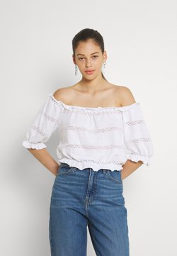 Pieces - PCTAYLEE CROPPED - T-Shirt print - bright white