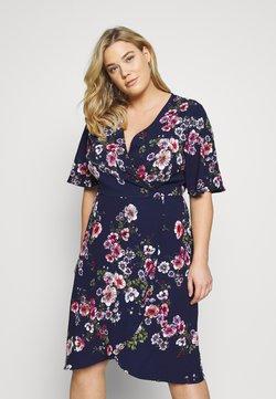 Simply Be - FRILL WRAP DRESS - Day dress - navy