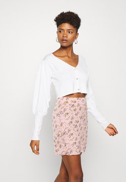Missguided - BALLOON SLEEVE CROPPED CARDIGAN - Gilet - white