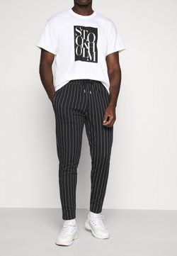 Topman - STRIPE JOG - Jogginghose - black