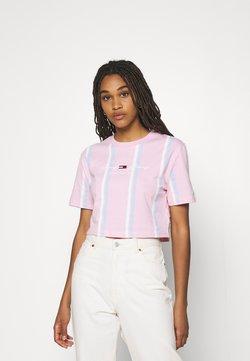 Tommy Jeans - STRIPE CROP TEE - T-Shirt print - romantic pink