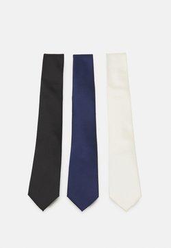 Pier One - 3 PACK - Cravatta - black/dark blue/beige
