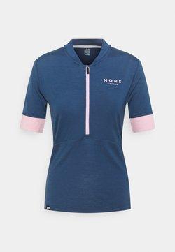 Mons Royale - CADENCE HALF ZIP - T-Shirt print - dark denim