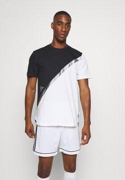 adidas Performance - BLOCK TEE - Printtipaita - white/black