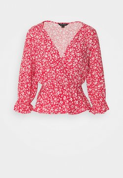 Miss Selfridge - RED DITSY SHIRRED WRAP BLOUSE - Bluse - red