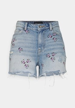 Pieces - PCTULLA EMBROIDERY - Jeans Shorts - light blue denim