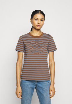 Tory Burch - STRIPED LOGO  - T-Shirt print - brown