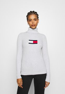 Tommy Jeans - FLAG ROLL NECK - Neule - silver grey
