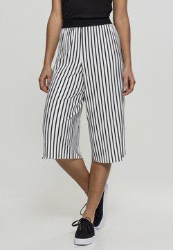 Urban Classics - LADIES STRIPE PLEATED CULOTTE - Stoffhose - white/black