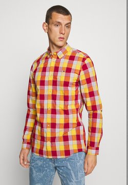 Tommy Jeans - ESSENTIAL CHECK  - Vapaa-ajan kauluspaita - wine red/multi