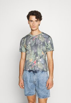 Jack & Jones - JORTROPICALBIRDS TEE CREW NECK - Print T-shirt - navy blazer
