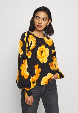 Who What Wear - THE BALLOON SLEEVE BLOUSE - Bluse - black/orange