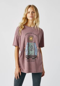 PULL&BEAR - SKELETT - T-Shirt print - rose