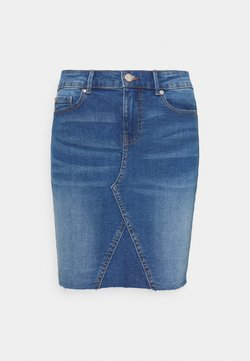 ONLY - ONLFAN SKIRT RAW EDGE - Minirock - medium blue denim