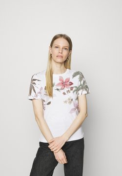 Desigual - TEE CROSSED OPEN BACK - Print T-shirt - white