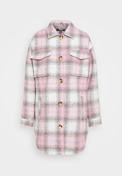 Missguided Tall - OVERSIZED CHECK SHACKET - Wollmantel/klassischer Mantel - pink