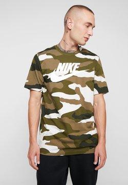 Nike Sportswear - TEE - T-Shirt print - light bone/medium olive/white