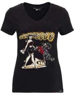 Queen Kerosin - MIT FRONTPRINT UND V-AUSSCHN - T-shirt print - schwarz