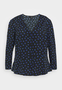 New Look Curves - BETH FLORAL FRONT PEPLUM - Bluse - black pattern