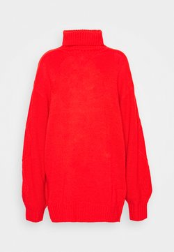 Missguided Tall - ROLL NECK CABLE SLEEVE JUMPER - Jersey de punto - red