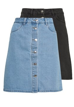 ONLY Tall - ONLFARRAH REG SKIRT 2 PACK - Jupe trapèze - light blue denim/black denim