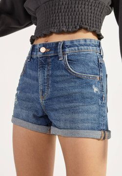 Bershka - DENIM-SHORTS MIT SAUMAUFSCHLAG 02596211 - Jeansshort - light blue