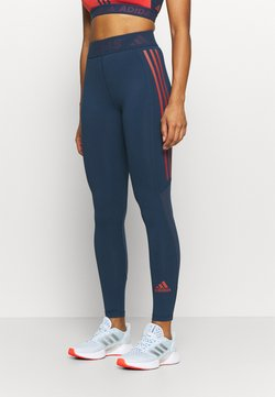 adidas Performance - TECHFIT 3-STRIPES LONG TIGHTS - Tights - crew navy/crew red