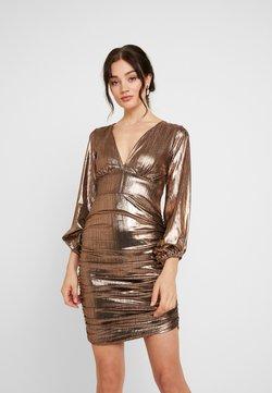 Club L London - PLUNGE RUCHED DRESS - Cocktailkleid/festliches Kleid - bronze
