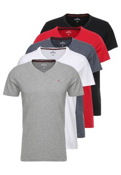 Hollister Co. - 5 PACK  - T-shirts med print - white/grey/red/navy texture/black