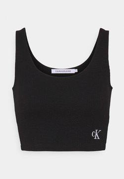 Calvin Klein Jeans - SLUB CROPPED STRAPPY - Débardeur - black