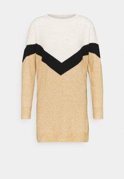 Vero Moda Petite - VMGINGOBLOCK O NECK DRESS - Jumper dress - tan/black/birch