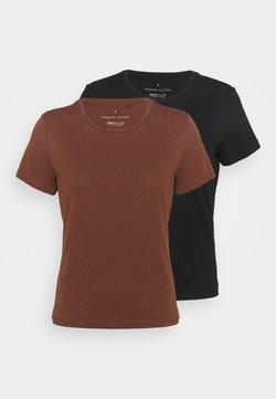 ONLY Tall - ONLPURE LIFE O NECK 2 PACK - T-shirt basic - cappuccino/black