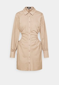 Missguided Petite - RUCHED CUT OUT MINI SHIRT DRESS - Skjortekjole - taupe