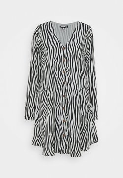 Missguided Tall - BUTTON THRU SMOCK DRESS ZEBRA - Freizeitkleid - black