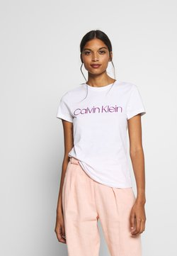Calvin Klein - SLIM FIT METALLIC LOGO TEE - Camiseta estampada - off-white