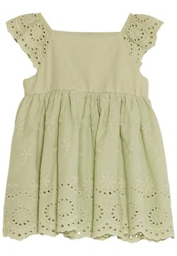 LC Waikiki - SQUARE NECK SHORT SLEEVE BABY GIRL EXCLUSIVE AND HAIR BAND - Freizeitkleid - green