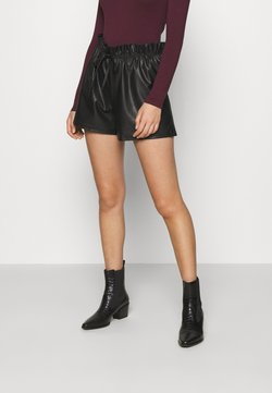 Miss Selfridge - PU PAPERBAG  - Shorts - black