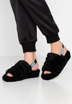 UGG - FLUFF YEAH SLIDE - Sandaalit nilkkaremmillä - black