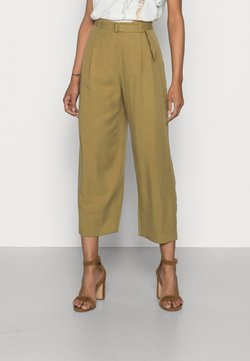 Esprit Collection - A BELTED COULOT - Kangashousut - olive
