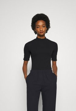 GAP - POINTELLE MOCK - T-Shirt print - true black
