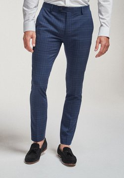 Next - CHECK SUIT: TROUSERS-SUPER SKINNY FIT - Anzughose - blue