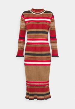 YAS - YASSULLY MIDI DRESS - Etuikleid - tawny brown/sully red stripe