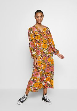 Glamorous - FLORAL LONG SLEEVE WRAP DRESS - Maxikjole - orange/pink