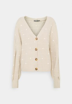 Missguided Tall - POLKA DOT BALLOON SLEEVE CARDIGAN - Strickjacke - stone